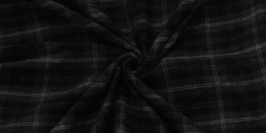 Unstitched Black Flannel Check Fabric