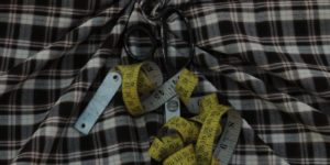 Unstitched Yellow & Black Suit Check Fabric