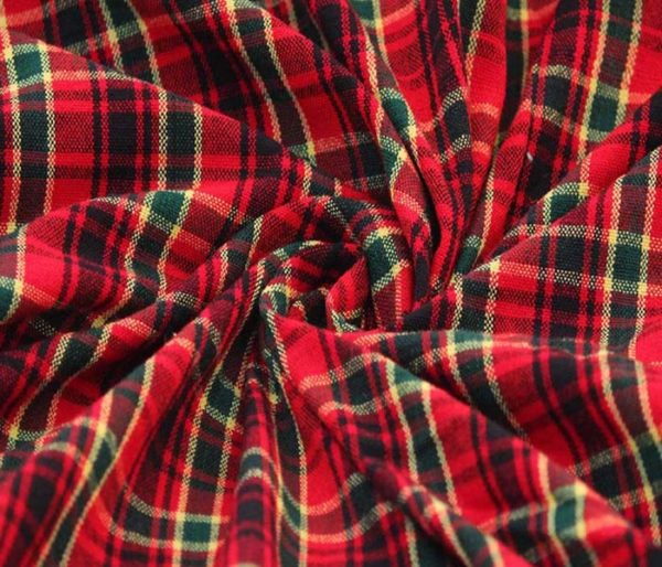 Yarn Dyed Red Flannel Check Fabric