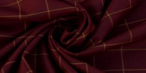 Unstitched Maroon Tweed Checkered Suiting fabric