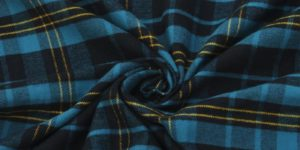 Yarn-Dyed Navy-Blue Cotton Flannel Fabric